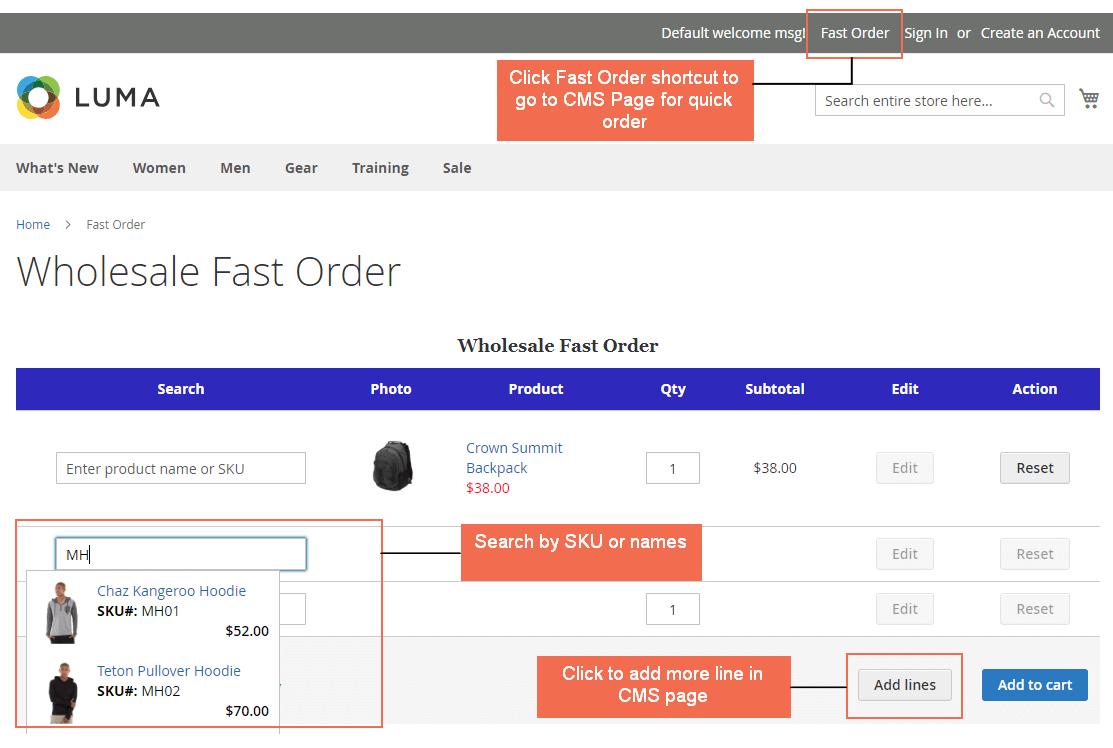 magento 2 wholesale fast order extension