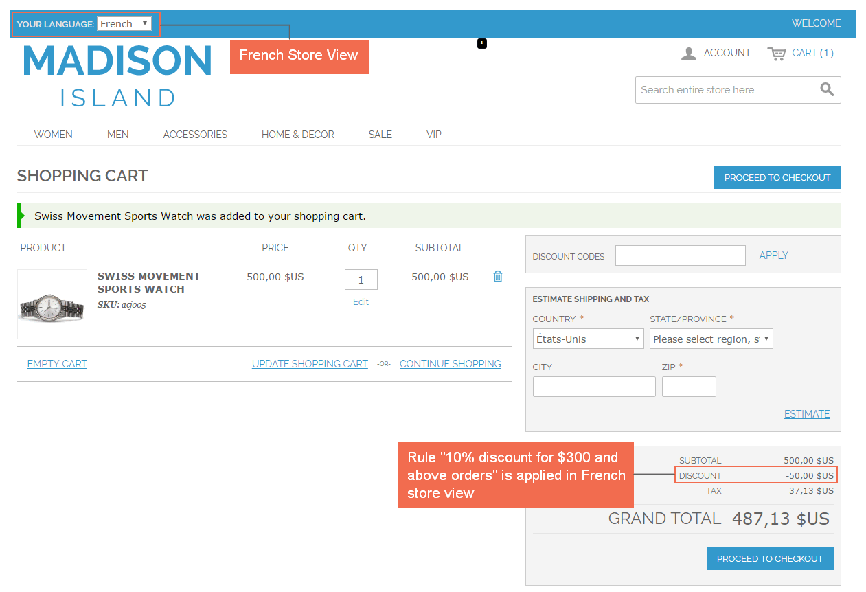 magento shopping cart price rule per store view-french store view