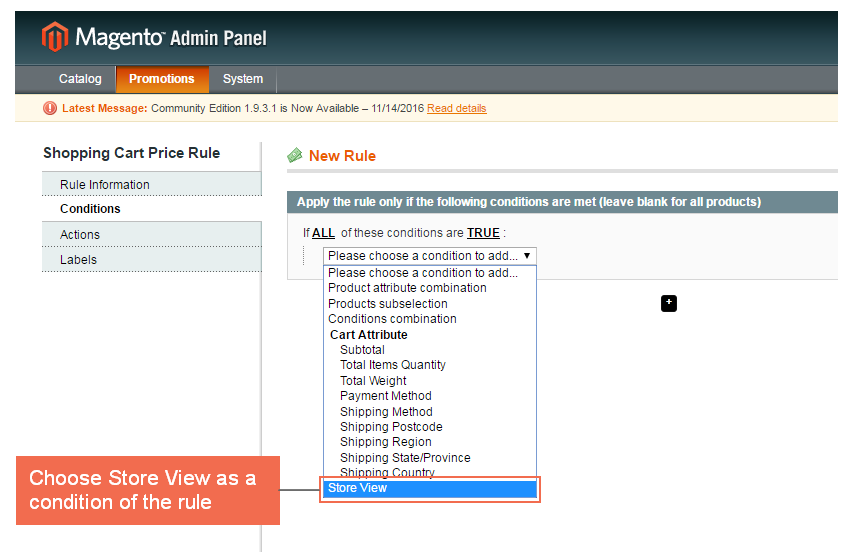 Magento Shopping Cart Rules per Store View Extension