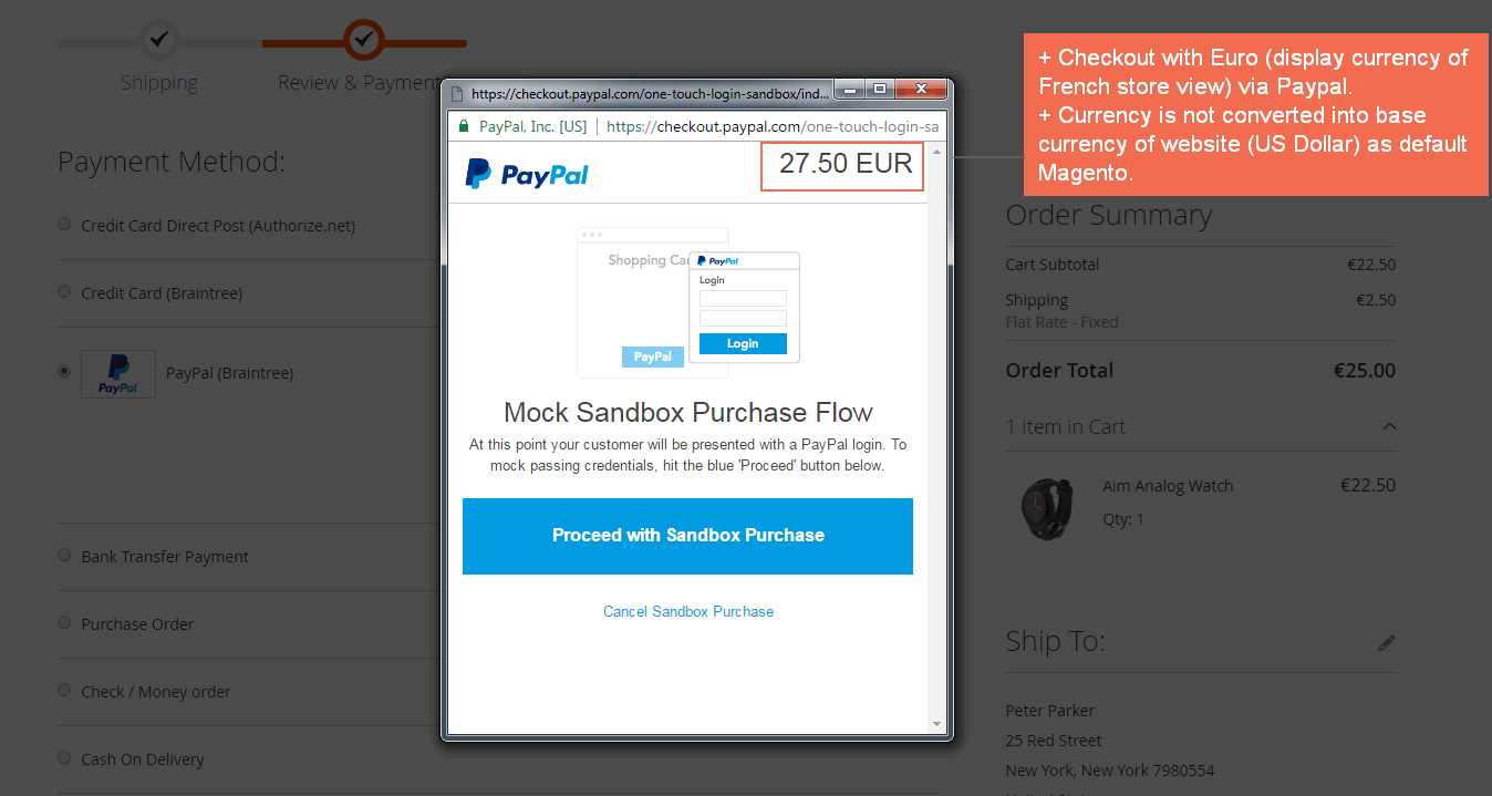 magento 2 checkout with display currency-paypal