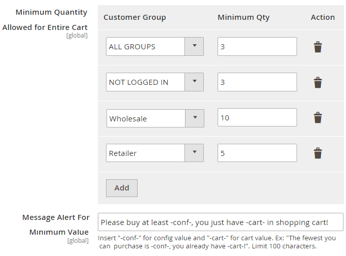 Minimum Order Quantity per Customer Group