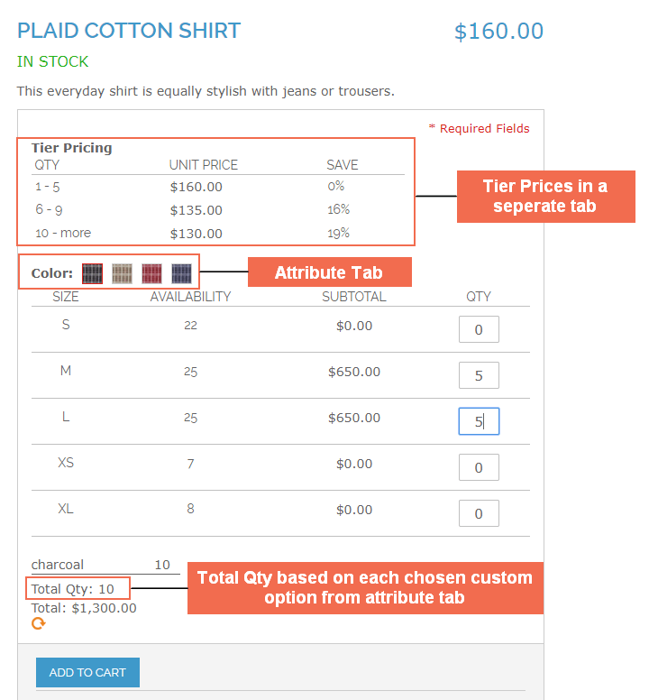Magento Configurable Product Table Ordering in the frontend