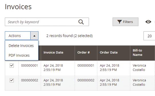 delete invoices