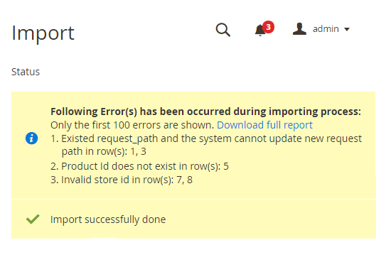 notification message after the import process