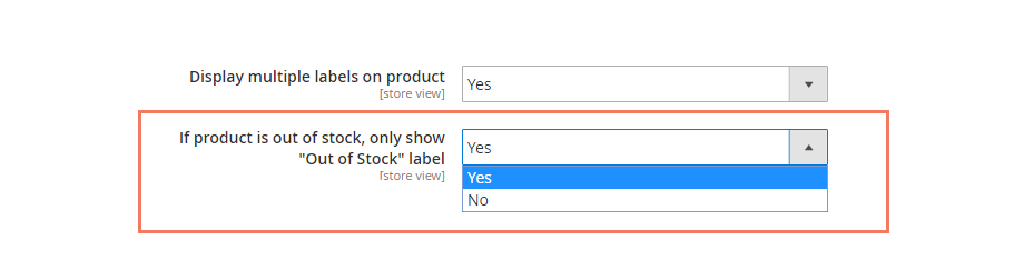 product label magento 2