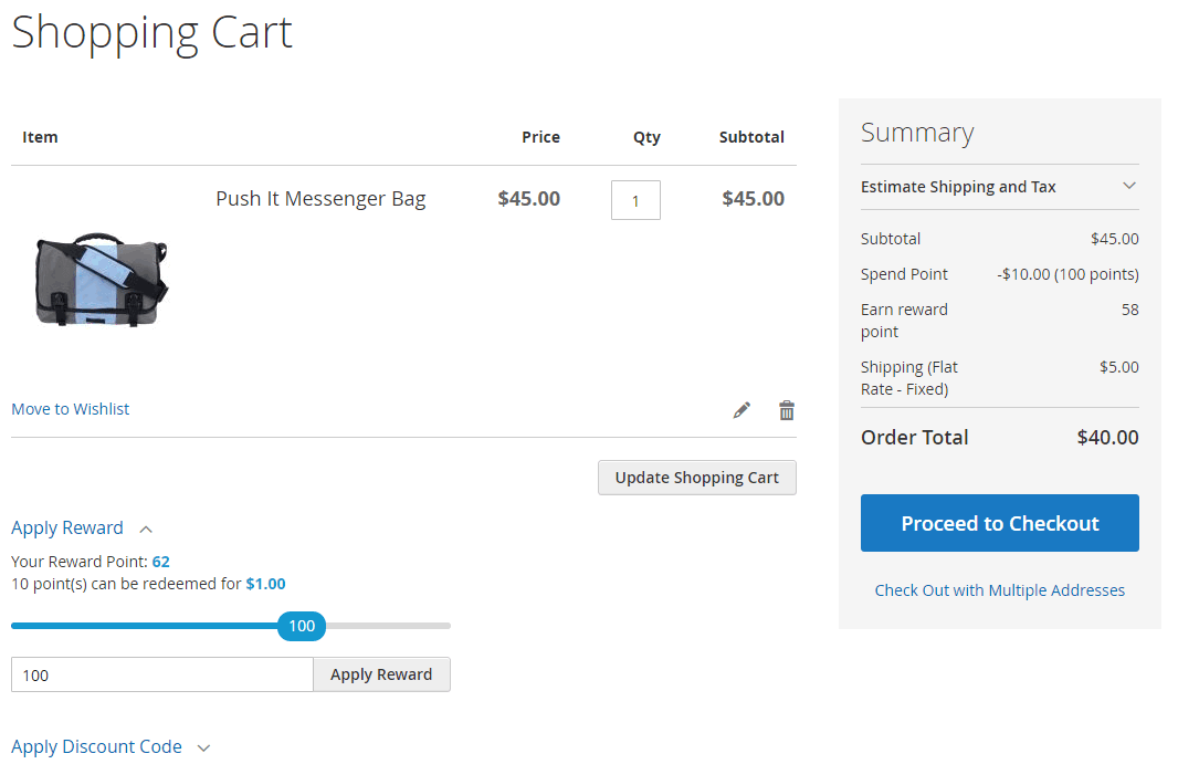 magento 2 reward points extension - point in shopping cart