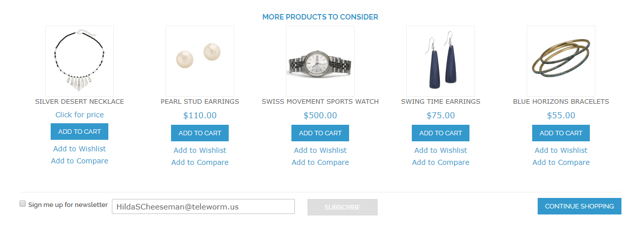 product suggestion display