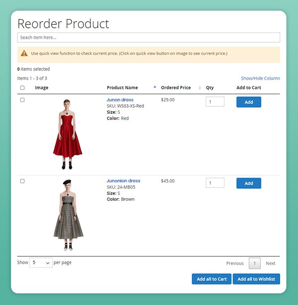 magento 2 reorder product tab