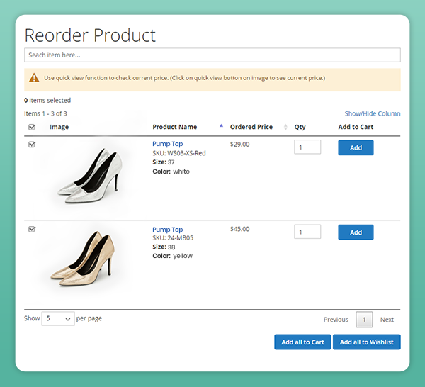 magento 2 one click multiple product reorder