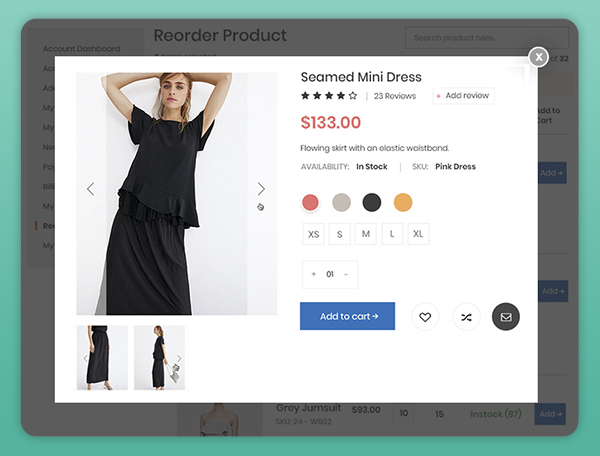magento 2 real time product preview for reorder