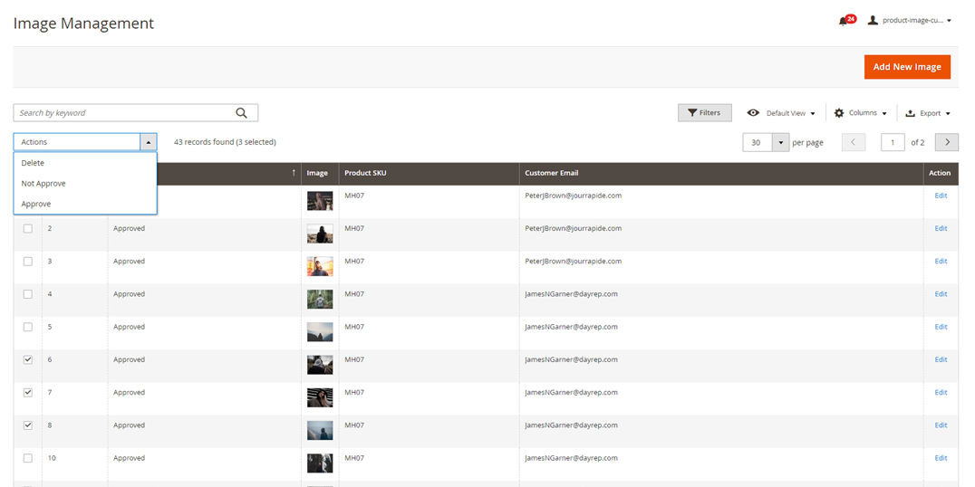Manage images uploaded by customers