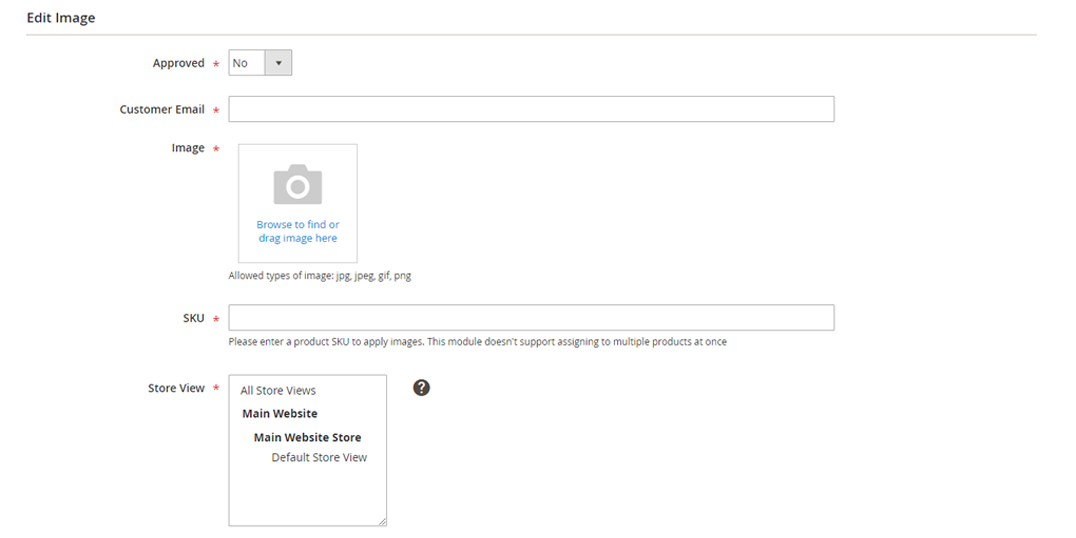Upload product images to the Magento store from the backend