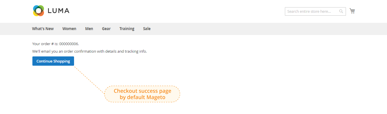 checkout success page by default magento