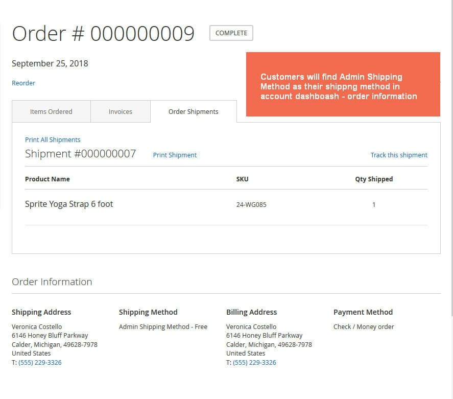 Show the admin shipping method in the frontend My Dashboard of customers