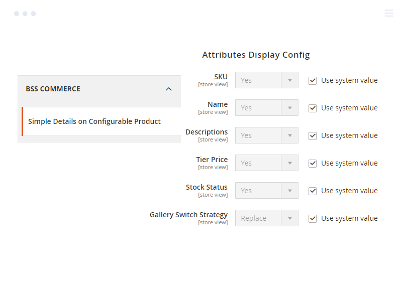 Attributes of Simple Child Products Shown on The Configurable