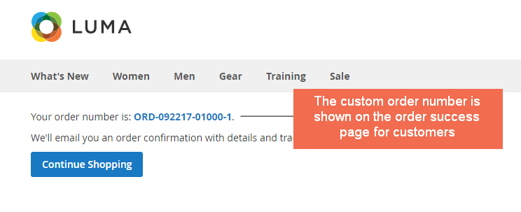 custom order number magento 2 - on success page