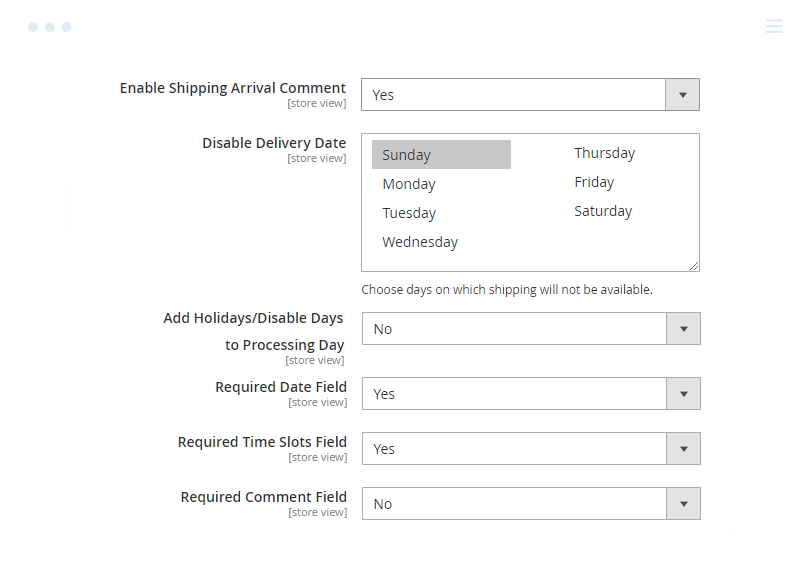 Other Settings of Magento 2 Delivery Date