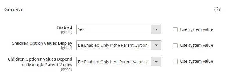 Magento 2 Dependent Custom Options extension configuration