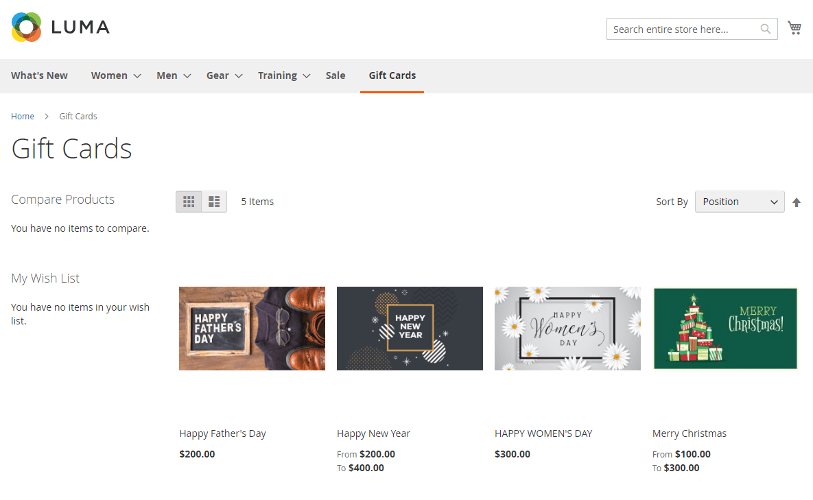 magento gift card on catgory page