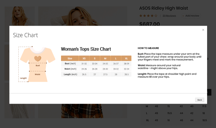 Display size chart in Pop-up