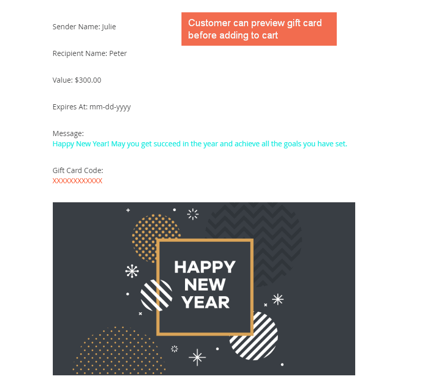 Easily preview the selected gift card