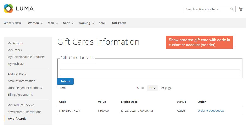 magento gift card order information