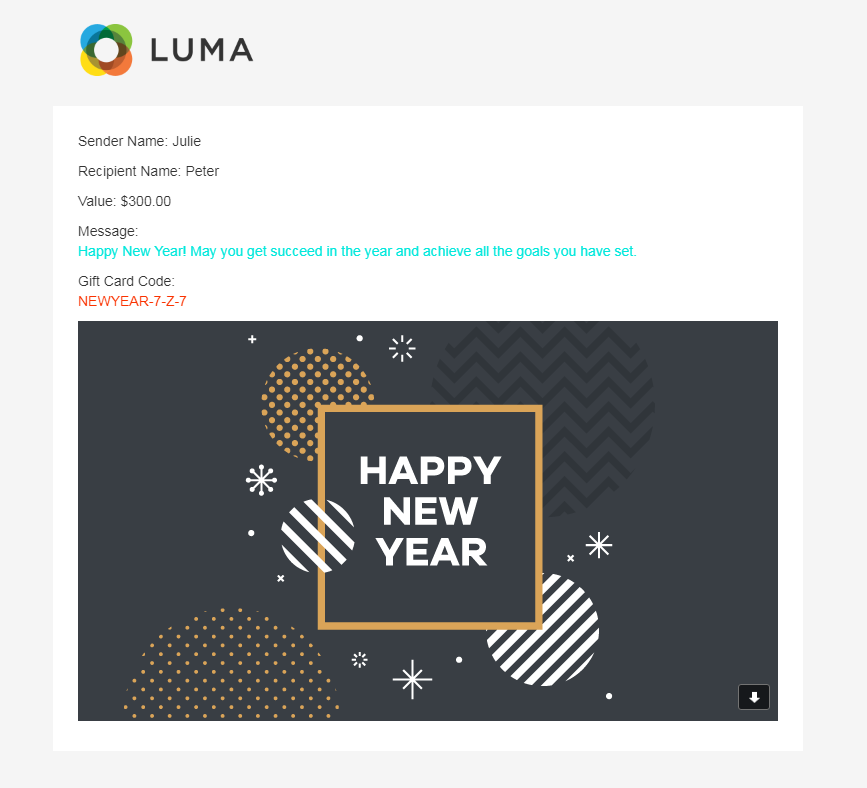 An email with gift code and message is sent to the recipient