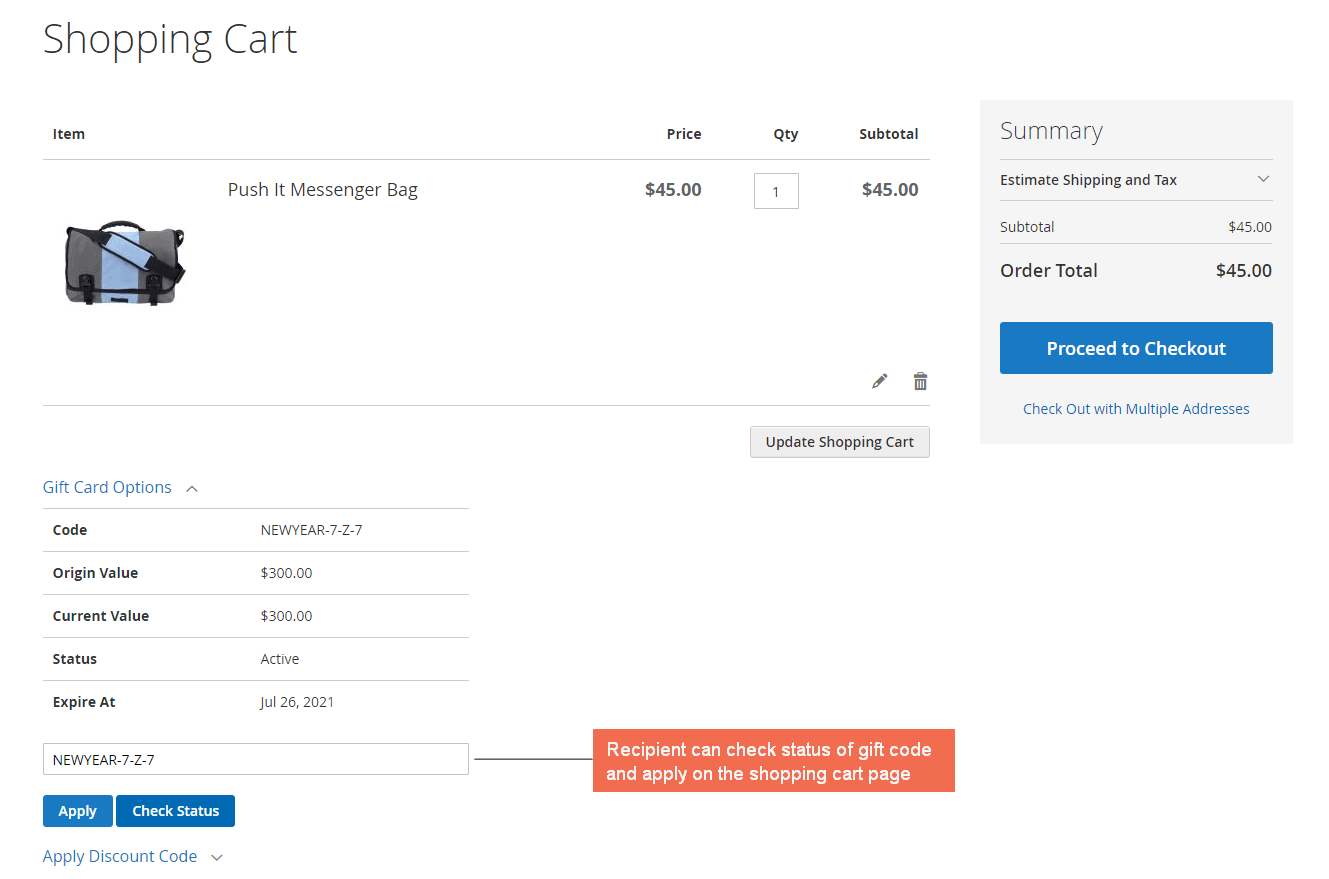 magento gift card-shopping cart