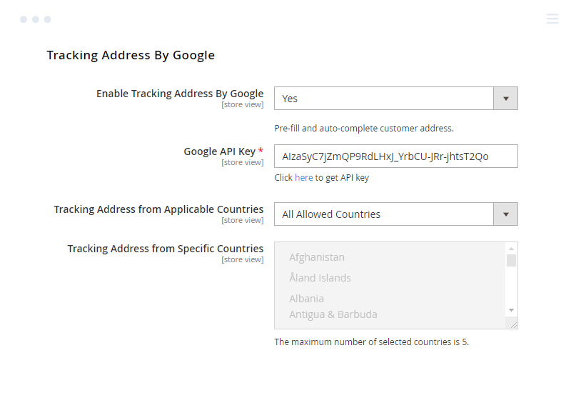 Tracking Address by Google Settings in Magento 2 Checkout Suite