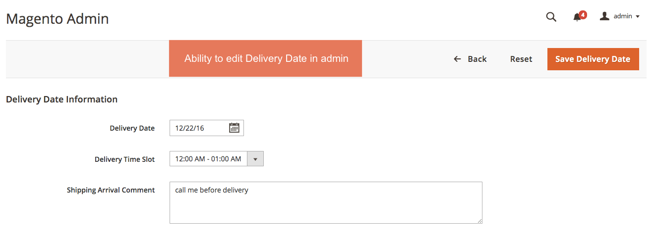 Enables to edit Order Delivery Date in admin