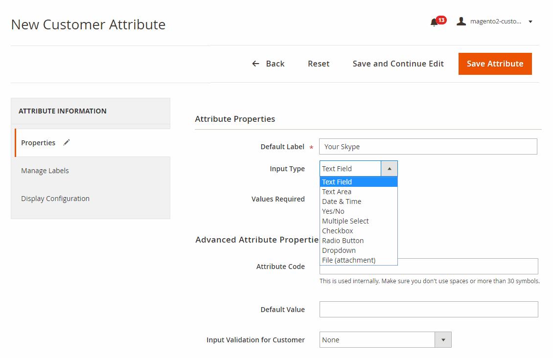 Create a new custom attribute in 9 input types