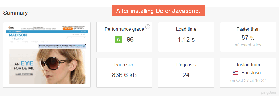 After installing Magento Defer JavaScript Extension- Result generated on Pingdom
