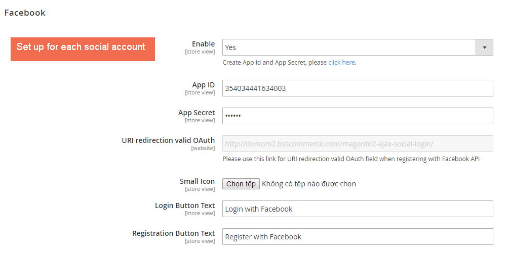 Backend setting for each social account of Magento 2 Social Login extension