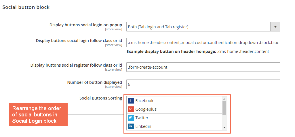 Magento 2 Social Login extension backend configuration 2