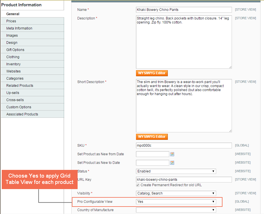 apply Grid Table View for each configurable product