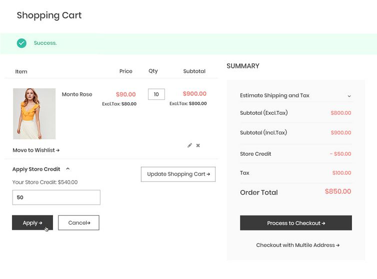 magento 2 store credit extension - apply in shopping cart