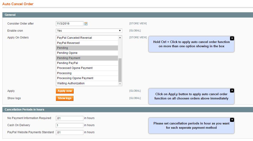 Magento Auto Cancel Order- general configuration