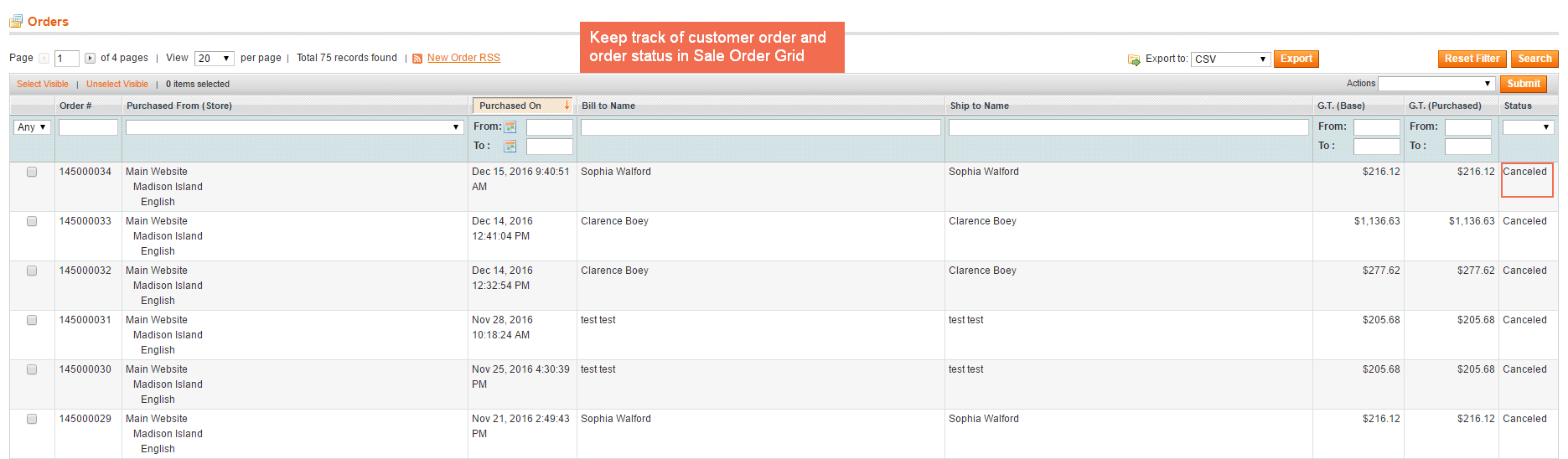 Keep track of canceled orders in Sales Order Grid