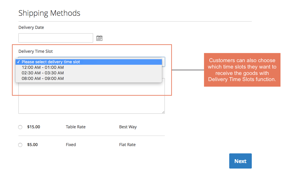 choose which time slots they want to receive the goods with Order Delivery Time Slots function with Magento 2 Order Delivery Date and Time Extension