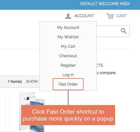 Fast Order shortcut