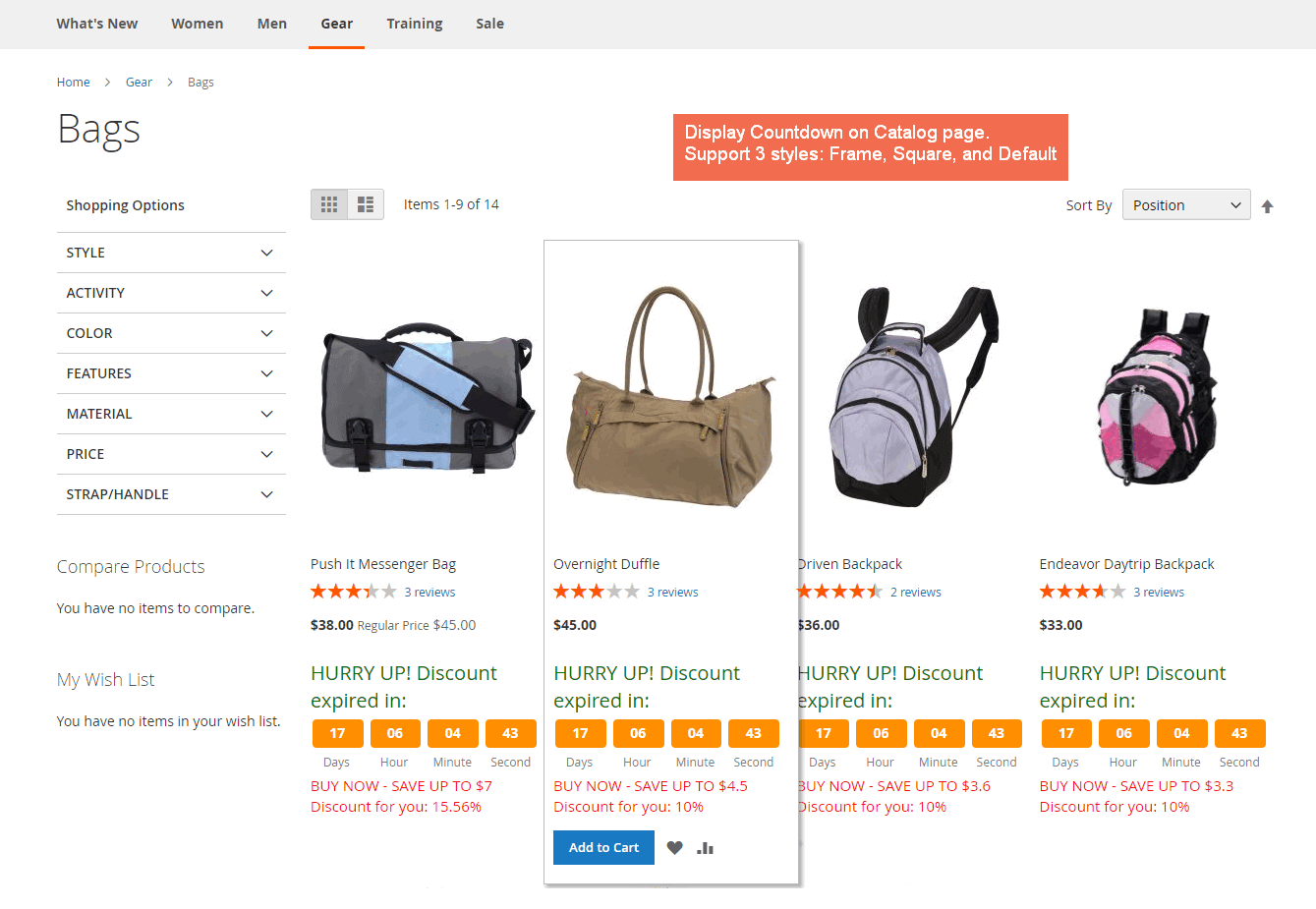 Displays countdown on catalog page