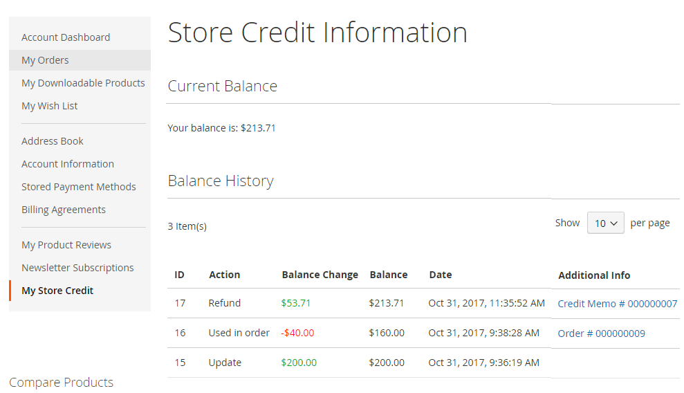 magento 2 store credit extension - in my account