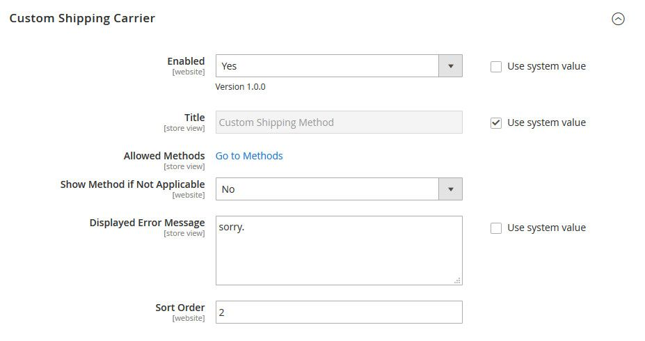 Magento 2 Custom Shipping Method