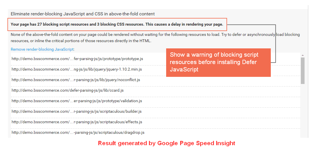 Before installing Magento Defer JavaScript Extension- Result generated on Google Page Speed Insight