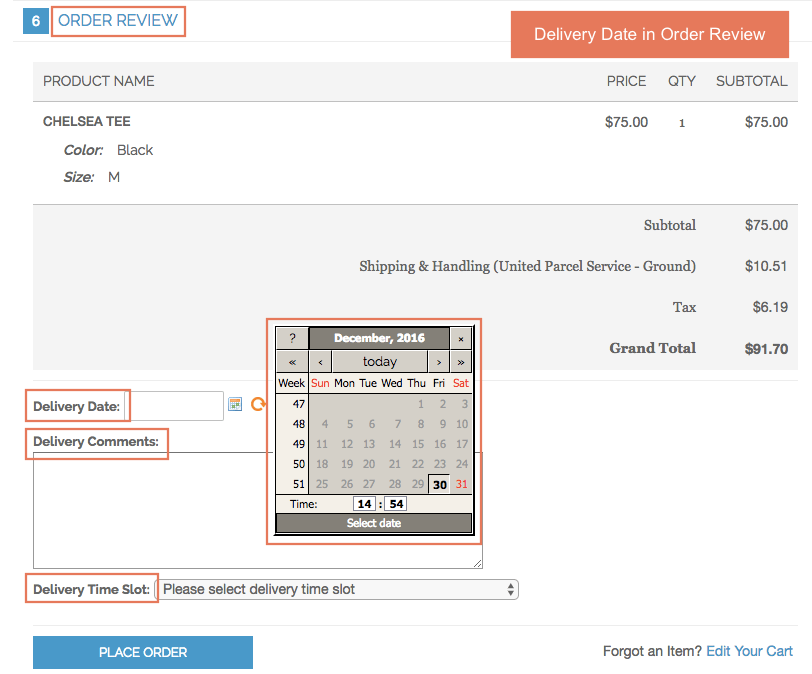 Magento Order Delivery Date and Time Extension displays in Order Review Section