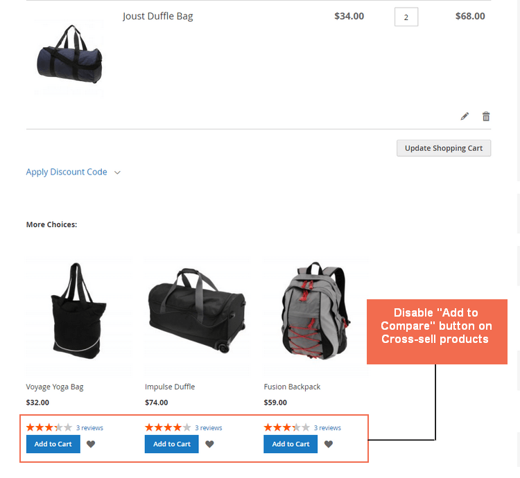 Disable the compare features for Cross-sell Product