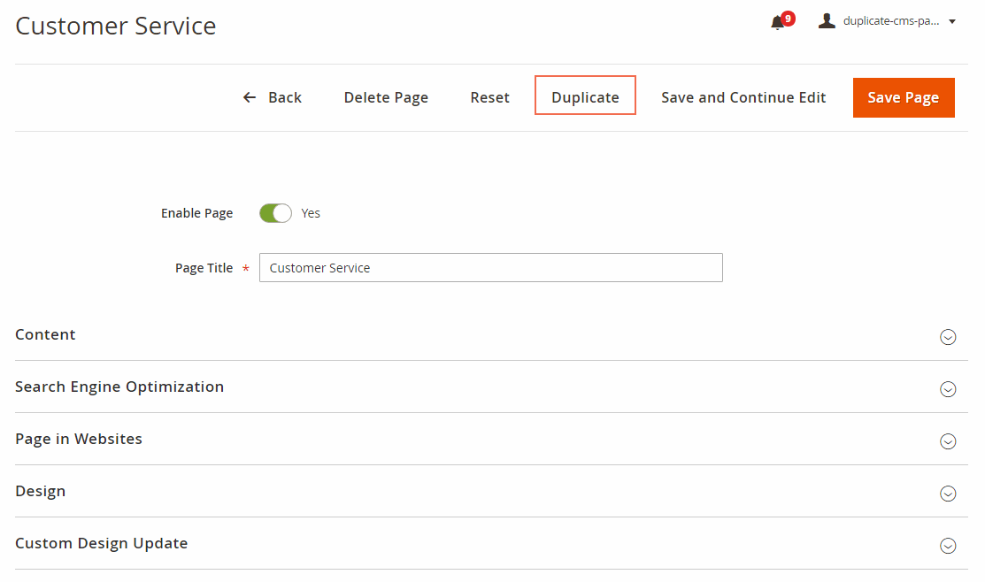 Duplicate button appears on each CMS/Block detailed page