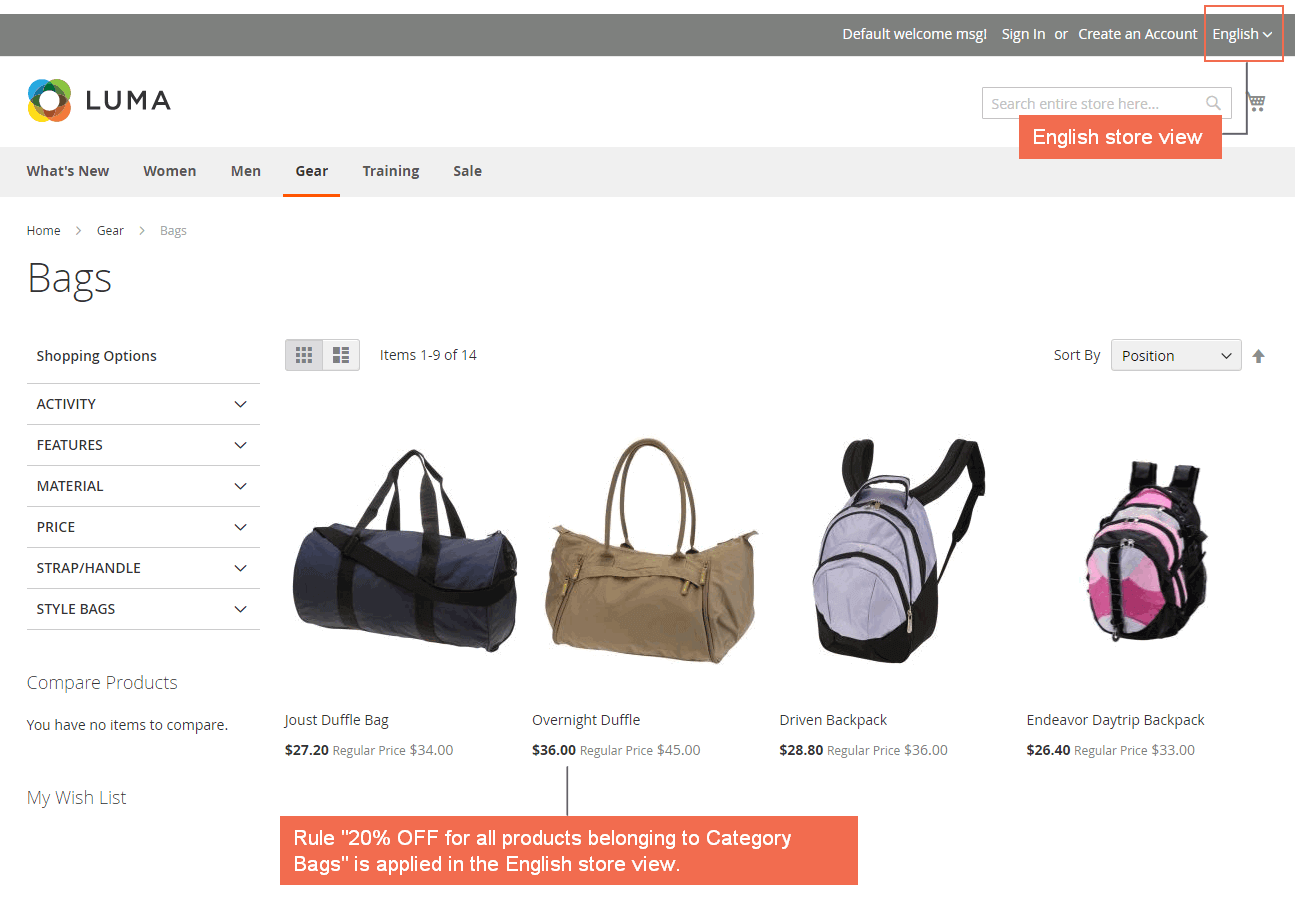 "Rule "" 20% OFF for all products belonging to Category Bags"" is applied  in the English store view"