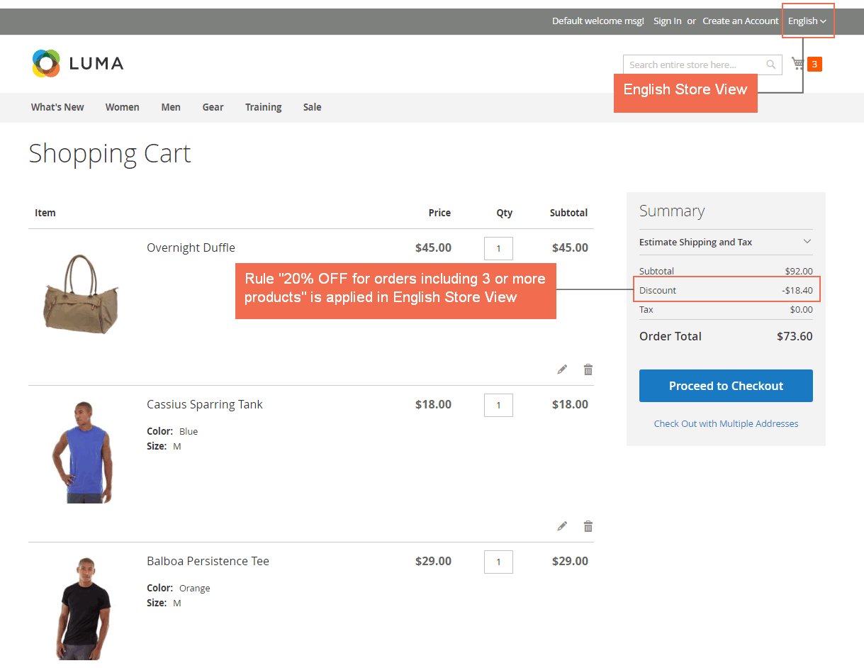 magento shopping cart extension - shopping cart rule in english