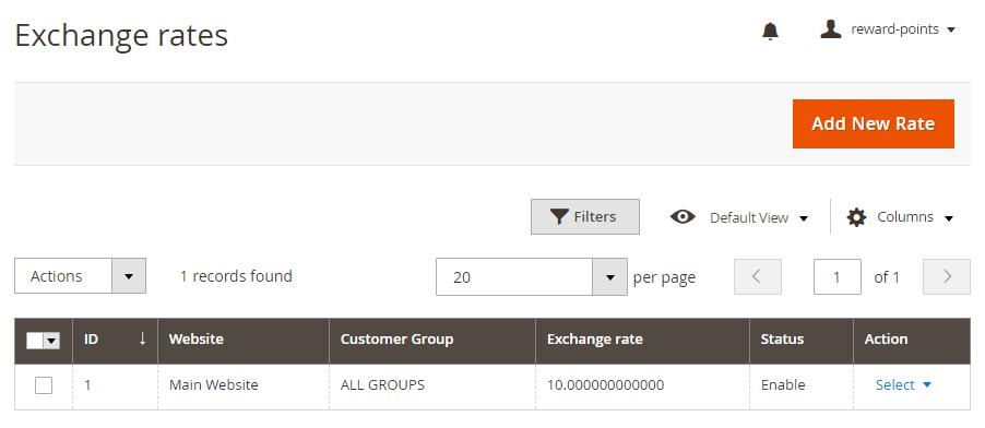 reward points magento 2 - exchange rates